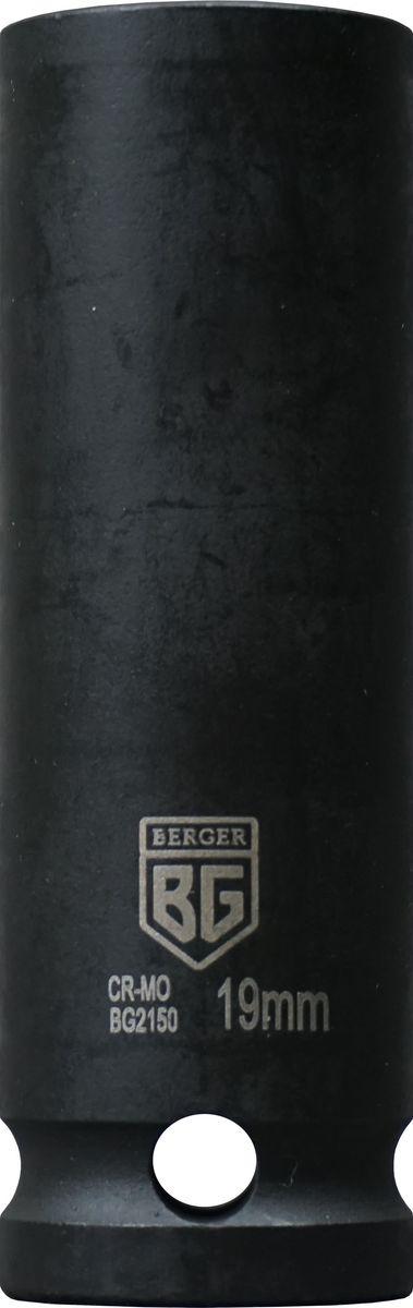 Торцевая головка ударная Berger удлиненная, тонкостенная, 1/2, 19 мм, BG2150 головка jtc 448121 ударная глубокая тонкостенная 6 гранная 1 2х21мм 82мм
