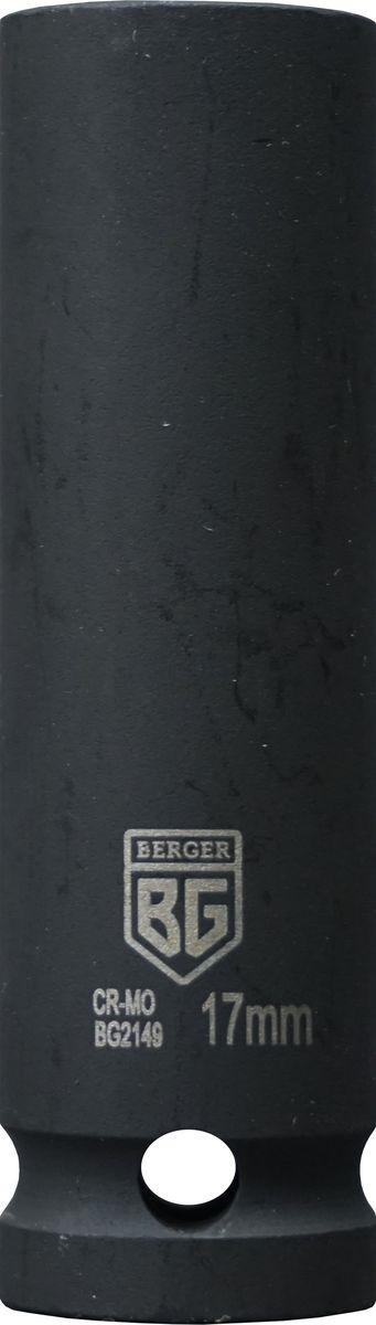 Торцевая головка ударная Berger удлиненная, тонкостенная, 1/2, 17 мм, BG2149 головка jtc 448121 ударная глубокая тонкостенная 6 гранная 1 2х21мм 82мм