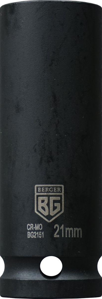 Торцевая головка ударная Berger удлиненная, тонкостенная, 1/2, 21 мм, BG2151 торцевая головка ударная berger удлиненная 1 2 30 мм bg2146