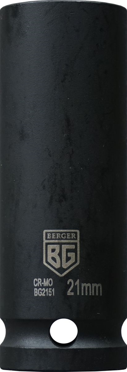Торцевая головка ударная Berger удлиненная, тонкостенная, 1/2, 21 мм, BG2151 головка jtc 448119 ударная глубокая тонкостенная 6 гранная 1 2х19мм 82мм