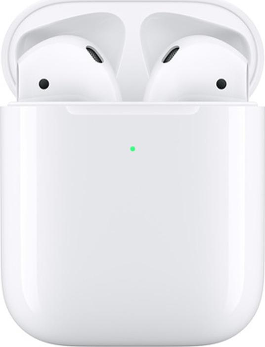 Беспроводные наушники Apple AirPods 2019 в зарядном футляре с возможностью беспроводной зарядки, белый