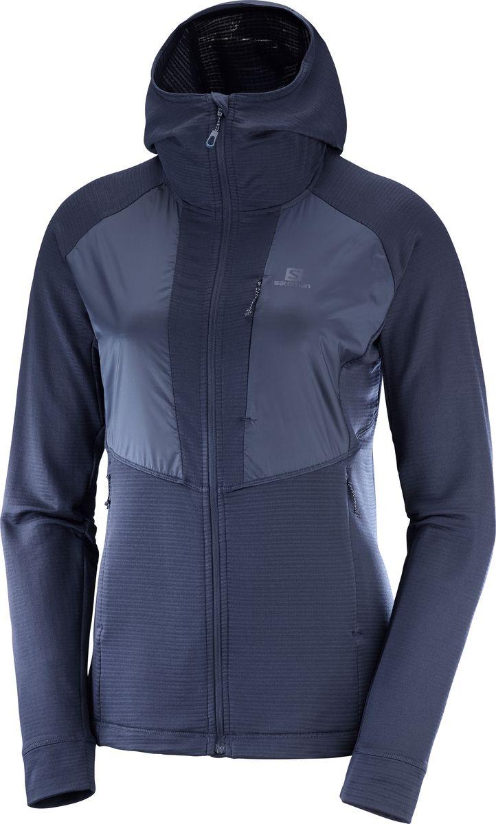Толстовка женская Salomon Gridid Fz, цвет: синий. LC1051200. Размер XL (50)LC1051200Толстовка GRID MID FZ сделана из структурированной ткани, которая пропускает больше воздуха. Кроме того, эта ткань более упругая в сравнении с традиционным флисом. Если надеть ее под защитную куртку, то она будет очень теплой. Но если носить ее отдельно, вы получите одежду с высоким уровнем воздухопроницаемости. Она сохнет быстрее, чем флисовая одежда, а значит, хорошо подходит для любых занятий под открытым небом. Максимально упругая и дышащая ткань. Утепление Сетчатая ткань из полиэстера гарантирует упругость одежды и более эффективное удержание тепла в сравнении с традиционным флисом. Вентиляция Структурированная ткань пропускает больше воздуха, чем флис, а значит, лишнее тепло будет эффективно отводиться от вашего тела. Молния во всю длину при необходимости обеспечивает дополнительное охлаждение. Быстросохнущая ткань Сетчатая ткань из полиэстера сохнет очень быстро, поскольку содержит меньше эластана в сравнении с традиционным флисом.