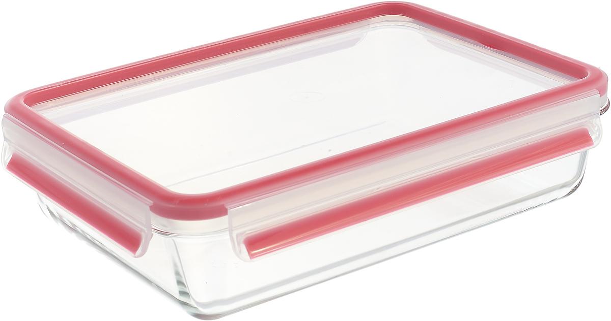 Контейнер пищевой Emsa Clip&Close Glass, 2 л, цвет: красный контейнер пищевой emsa clip