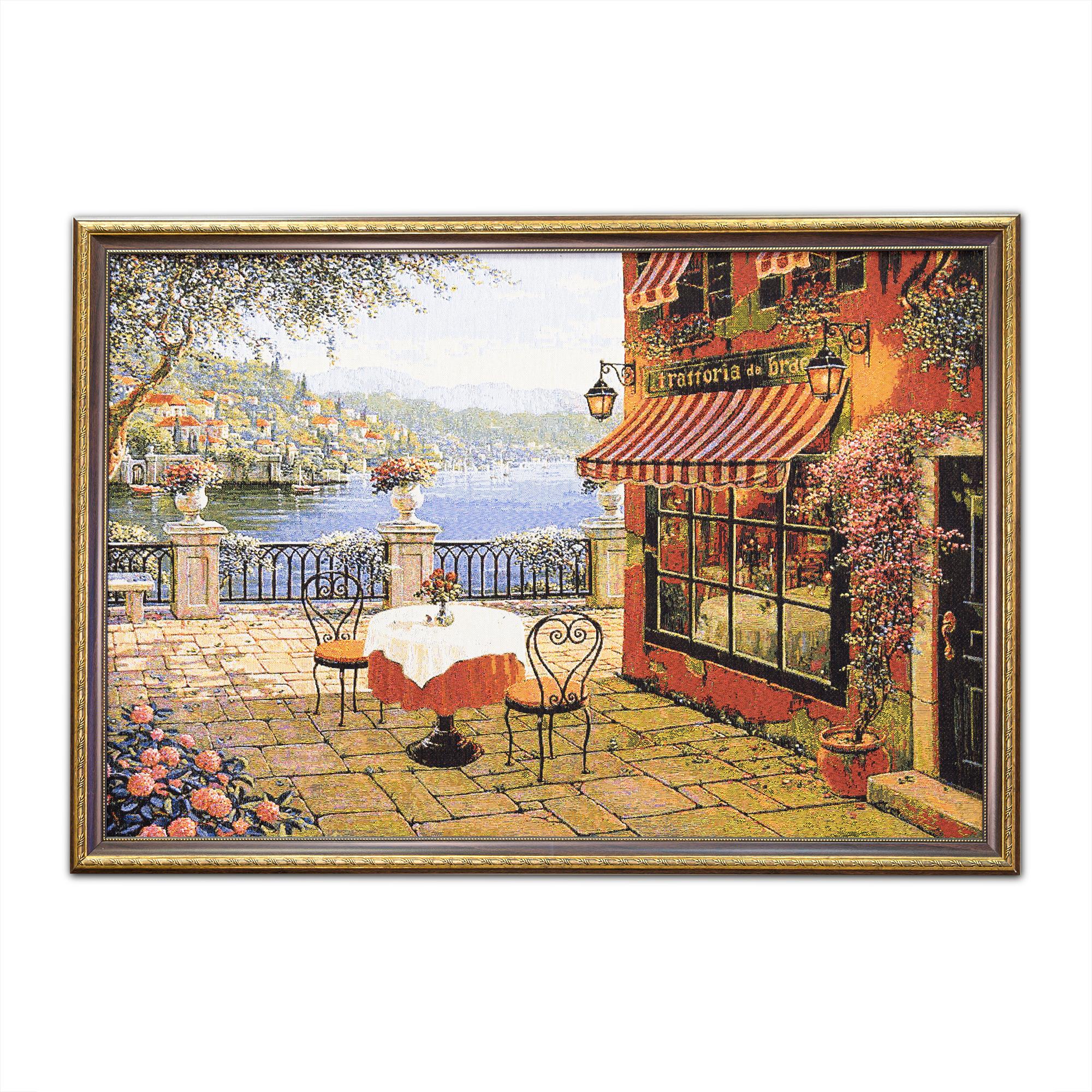 Картина Магазин гобеленов романтический ужин 70*100 см, коричневый цена и фото