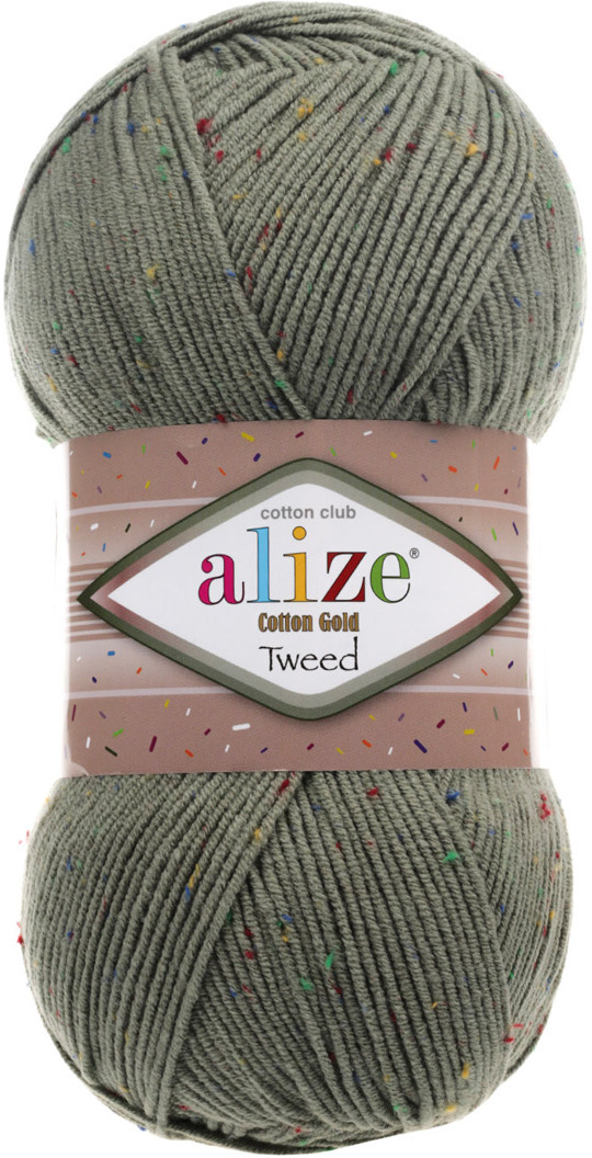 Пряжа Alize Cotton Gold Tweed, 7722476, 372 хаки, 100 г, 330 м, 5 шт