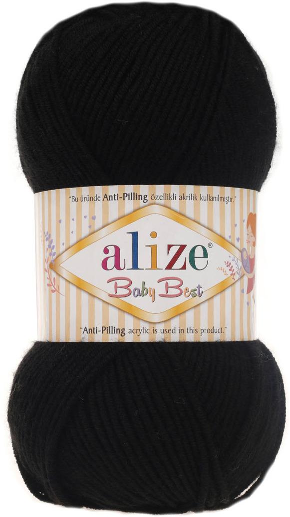 Пряжа Alize Baby Best, 7722477, 60 черный, 100 г, 240 м, 5 шт