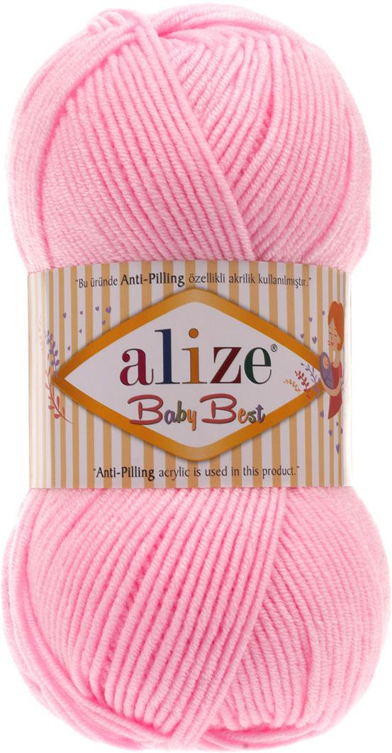 Пряжа Alize Baby Best, 7722477, 191 светло-розовый, 100 г, 240 м, 5 шт7722477_191 розовыйПряжа с эффектом антипиллинг (вещи не скатываются). Нежные расцветки под батик. Пряжа не колется и не вызывает аллергии, нить особенно мягкая и пластичная, после стирки не теряет форму. Подходит для вещей на осень и прохладную весну.Состав: 10% бамбук, 90% акрил.Размер мотка: 100 г / 240 м.Рекомендуются спицы №4-5, крючок №2-4.5 мотков в упаковке.