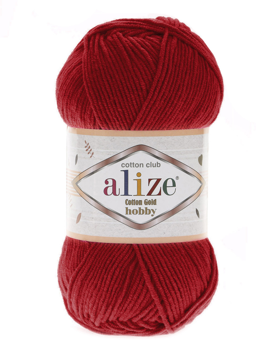 Пряжа Alize Cotton Gold Hobby, 7725809, 56 красный, 50 г, 165 м, 5 шт