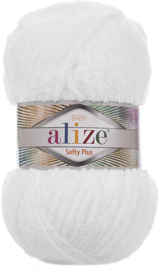 Пряжа Alize Softy Plus, 7725813, 55 белый, 100 г, 120 м, 5 шт 5 newstar 100