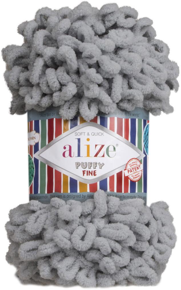 Пряжа Alize Puffy Fine, 7725814, 343 угольно-серый, 100 г, 14 м, 5 шт