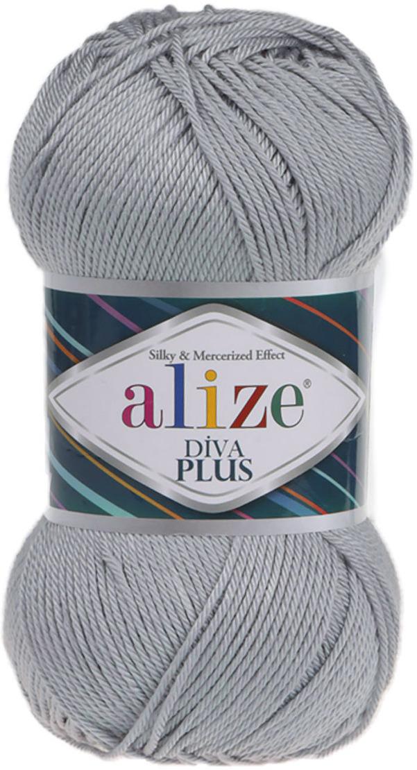 Пряжа Alize Diva Plus, 7725810, 21 серый, 100 г, 220 м, 5 шт ботильоны женские s oliver цвет серый 5 5 25320 21 214 220 размер 36