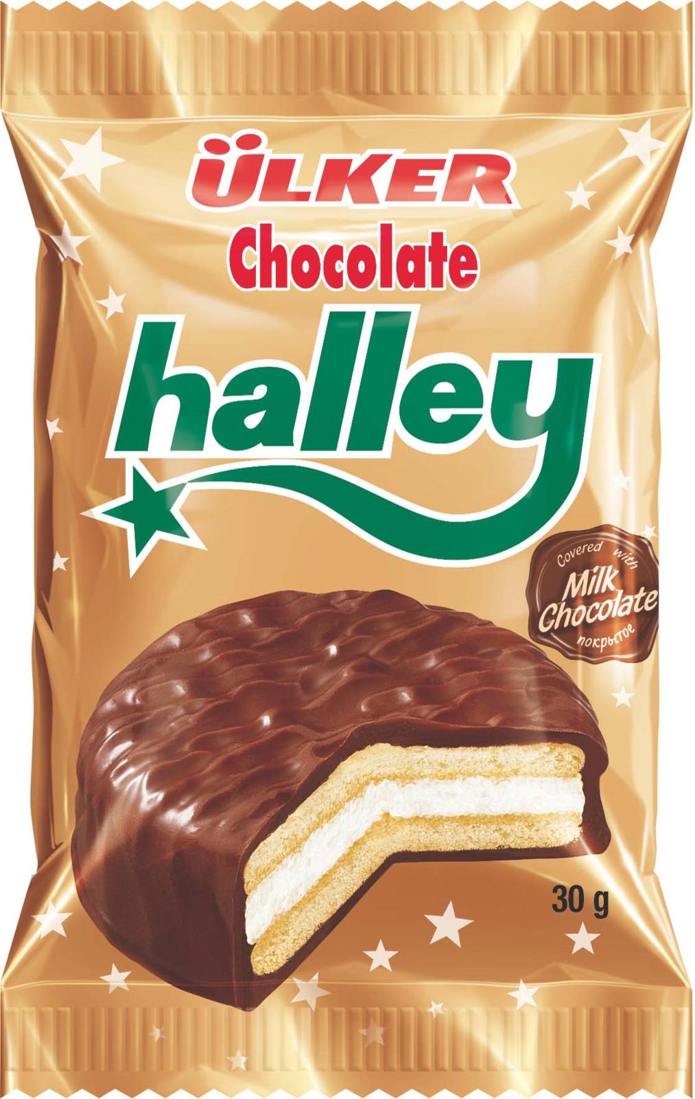 Печенье Ulker Halley покрытое молочным шоколадом с маршмеллоу, 30 г merba печенье с клюквой и белым шоколадом 200 г