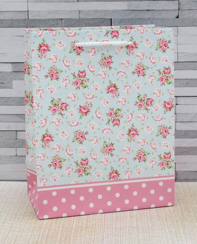 Подарочная упаковка Dream Cards Розы и горошек, 18 х 23 х 10 см пакет подарочный розы 23 х 18 х 8 см синий