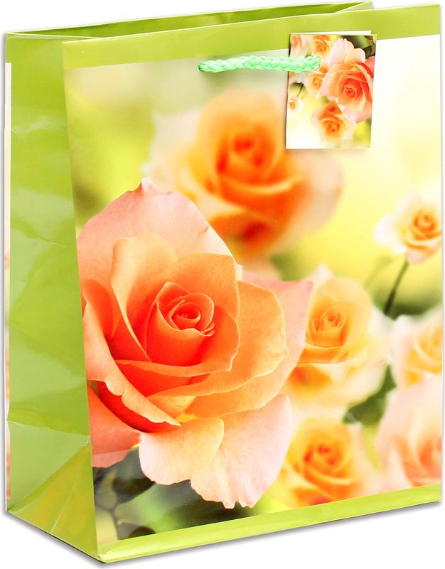 Подарочная упаковка Miland Чайные розы, 18 х 23 х 10 см пакет подарочный розы 23 х 18 х 8 см синий