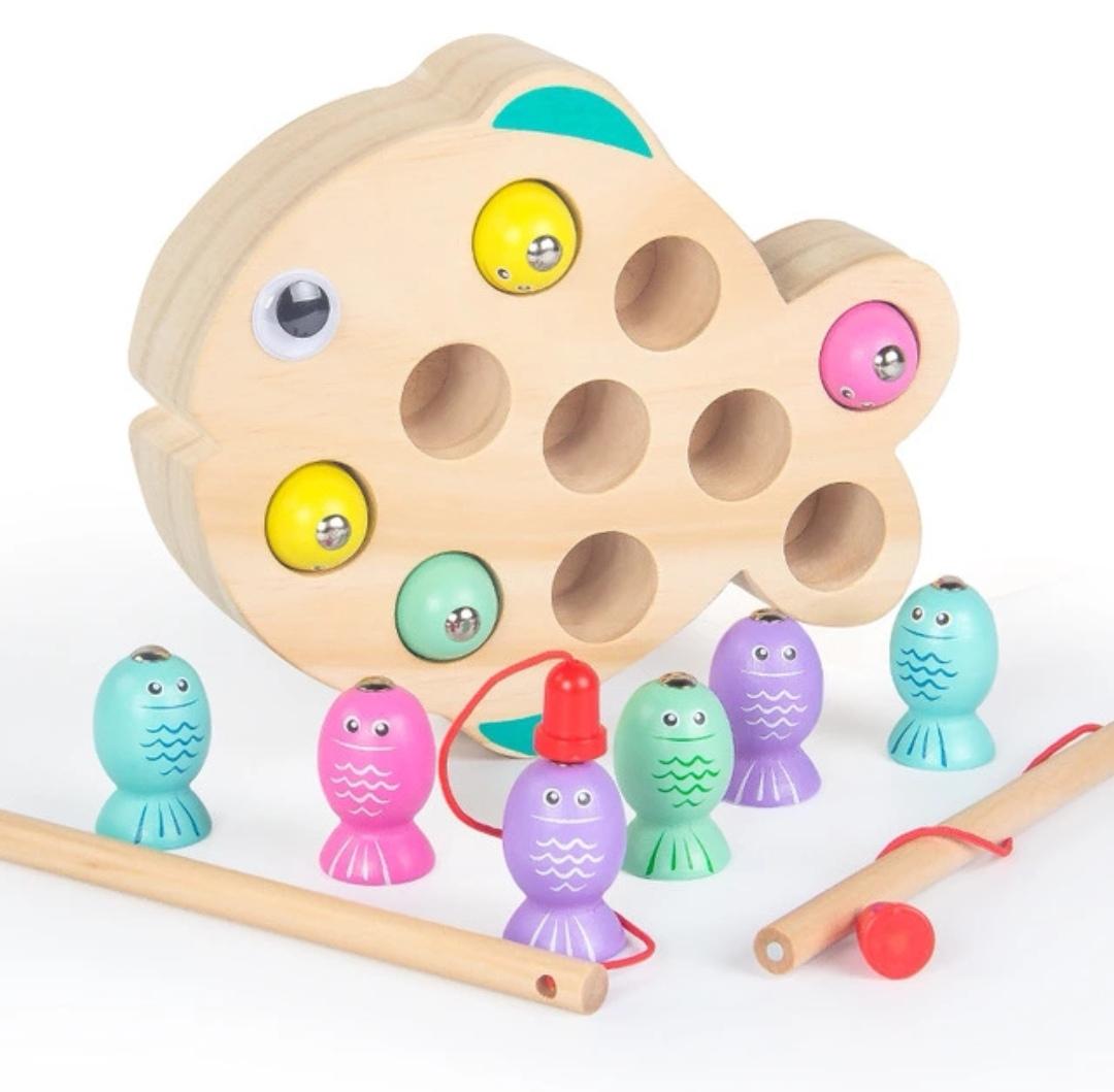 Обучающая игра BeeZee Toys Развивающая деревянная игра магнитная рыбалка «Разноцветные рыбки», Монтессори сортер разноцветный goula магнитная игра рыбки 53131