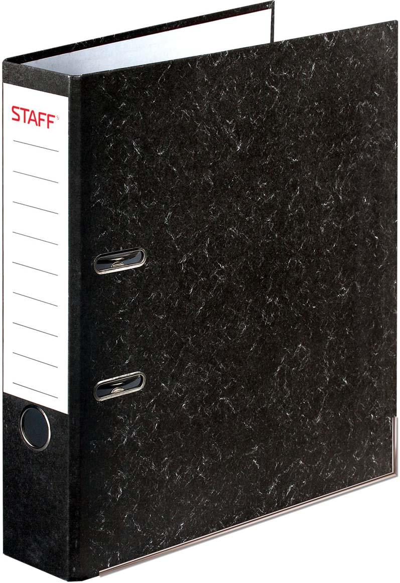 Папка-регистратор Staff, А4, корешок 70 мм, 227187, черный папка регистратор hatber red on black ширина корешка 70 мм цвет черный красный
