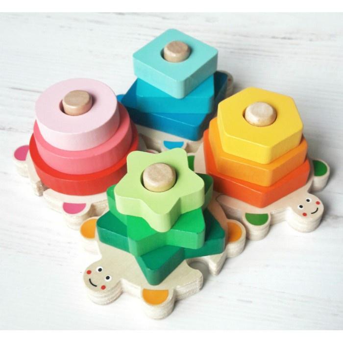 """Сортер BeeZee Toys Развивающий игровой набор деревянная пирамидка-сортер, пазл Черепашки """"Фигуры и цвета"""" обучающая головоломка красный, зеленый, желтый, синий"""