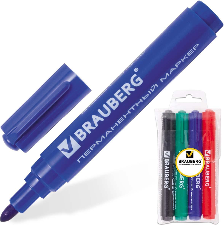 Brauberg Набор маркеров перманентных Classic 4 цвета150530Маркеры Brauberg Classic предназначены для письма на любой поверхности. Фетровый наконечник отличается повышенной износостойкостью.Ширина линии письма - 3 мм. Круглый наконечник. В наборе 4 перманентных маркера: черный, синий, красный, зеленый. Водостойкие чернила. Для письма на любой поверхности.Нестираемые.