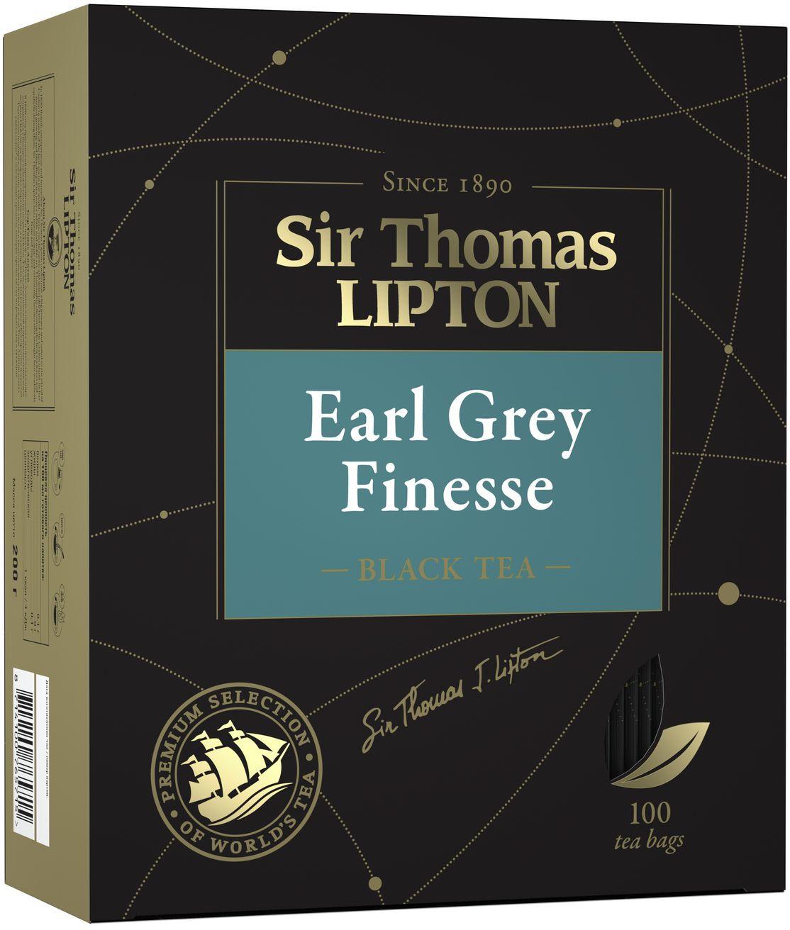 Чай в пакетиках Sir Thomas Lipton Earl Grey Finesse черный, 100 шт lipton черный чай heart of ceylon 100 шт