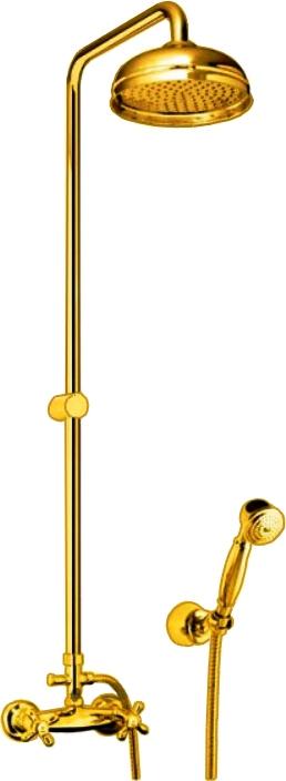 Душевой комплект Fiore Душевая система, золотой26GO061426GO0614 Душевая система Fiore MargotНазначение: душевая стойка для ваннойВысота: 120 смДлина излива верхнего душа: 30 смДиаметр верхнего душа: 20 смЦвет: золото