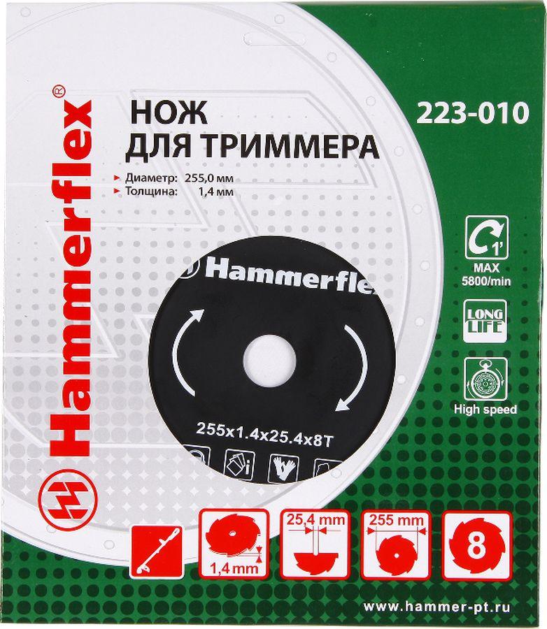 Нож для триммера Hammer Flex 223-010, круглый, 8 зубьев, толщина 1,4 мм, диаметр 255 мм
