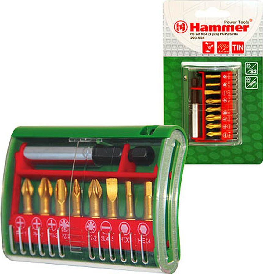 Набор бит Hammer Flex 203-904 PB, No4 Ph/Pz/Sl/H, 9 шт цена и фото