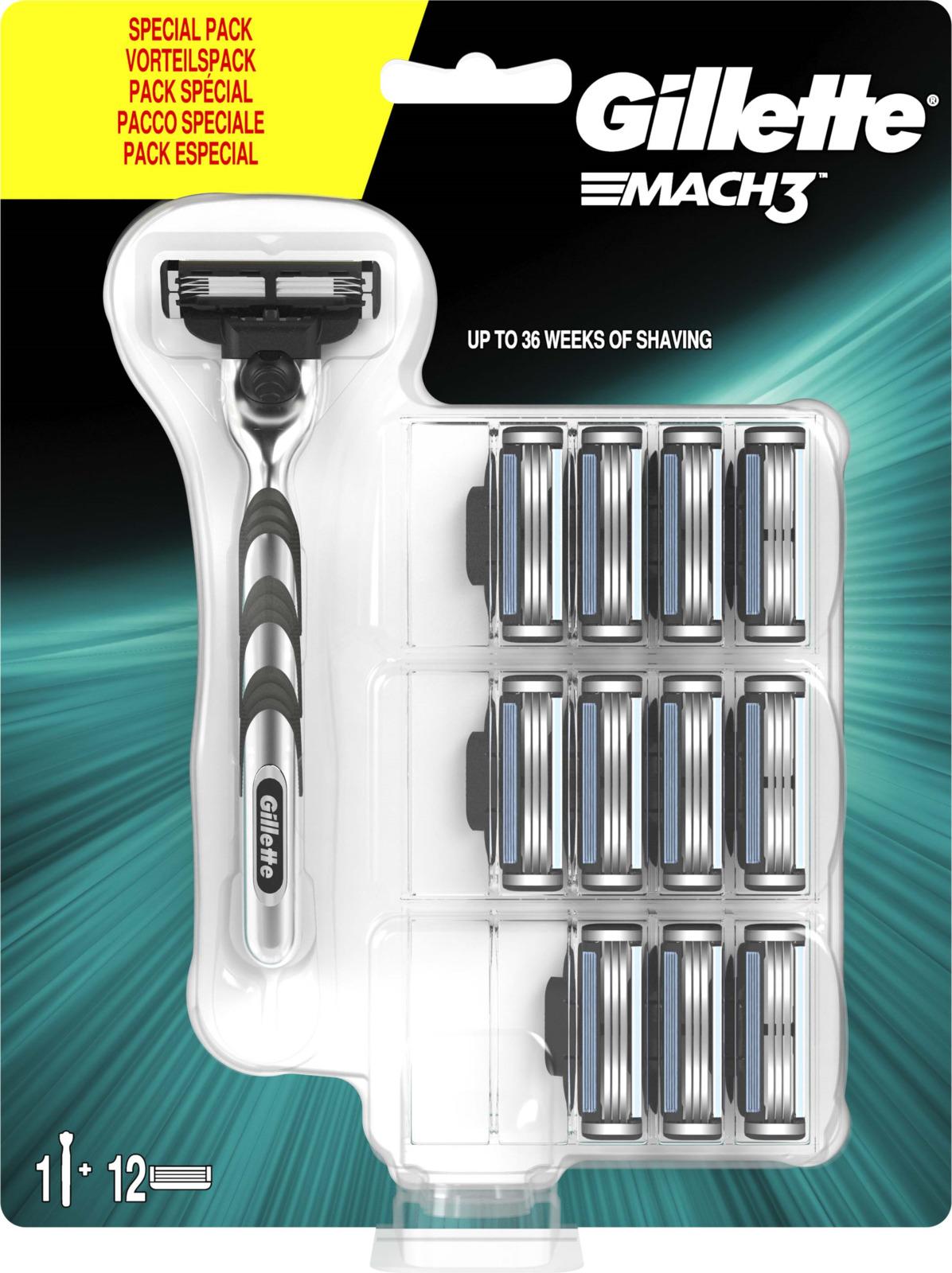 Бритвенный станок Gillette Mach3, мужской, c 11 сменными кассетами, 81663506
