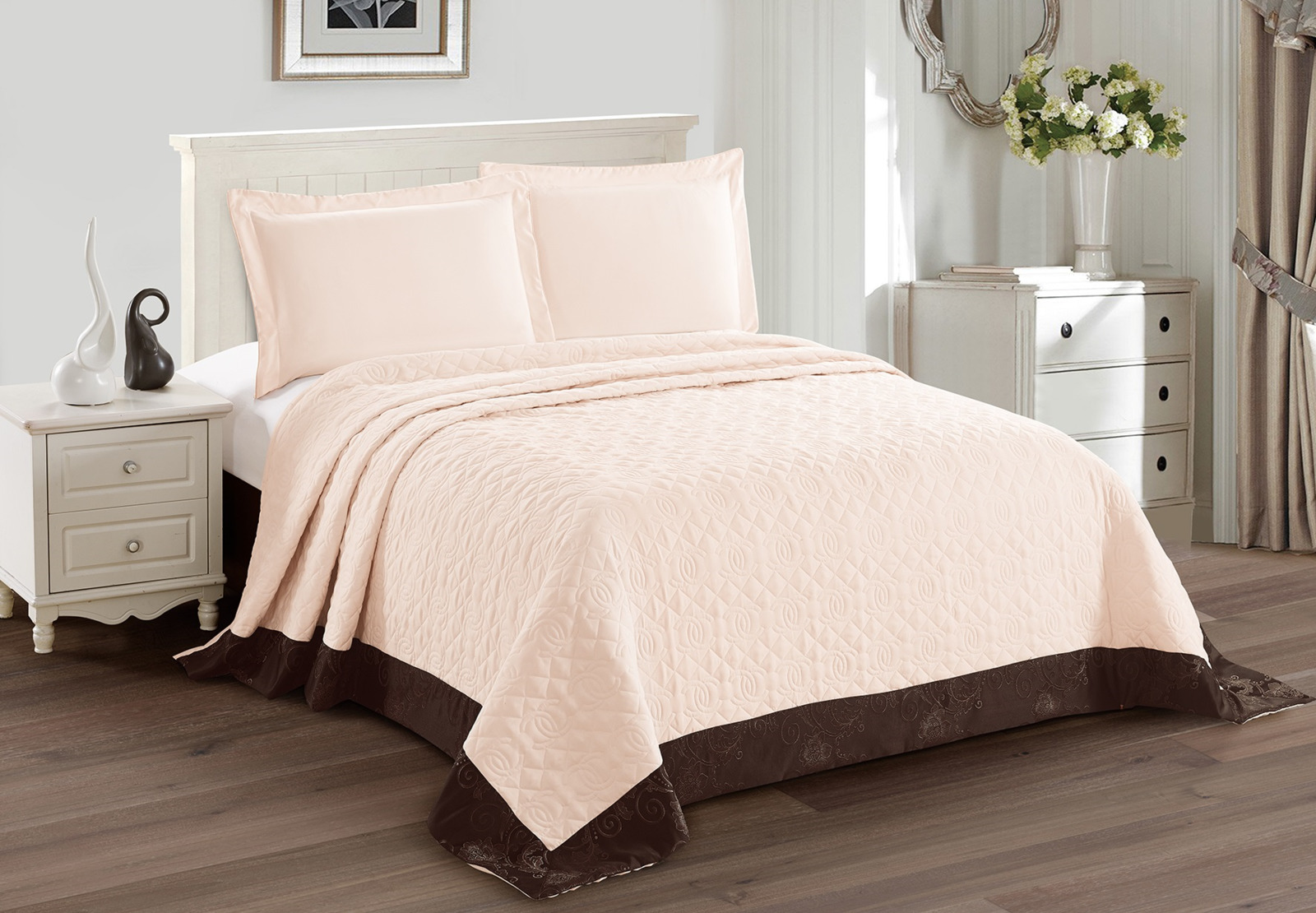 Покрывало с наволочками Cleo Monifico, 240/015-CH, светло-розовый, 240х260, наволочки 50х70, 2 шт цена