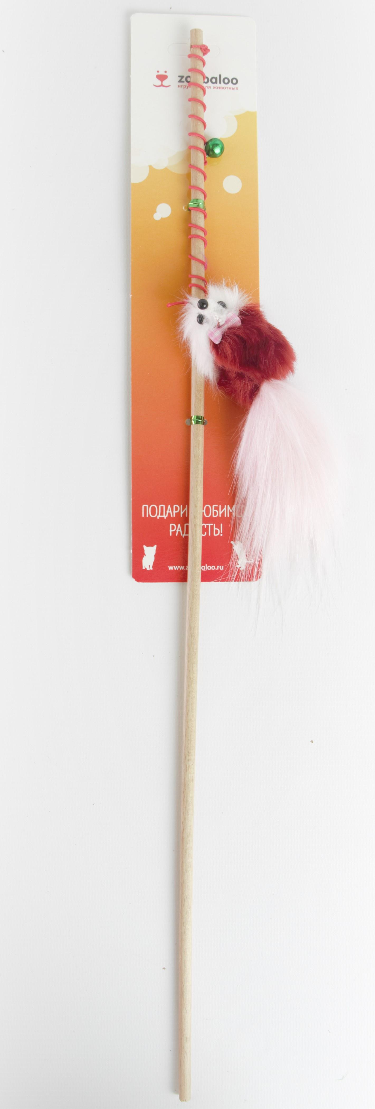 Бамбуковая дразнилка Меховая мышка на резинке