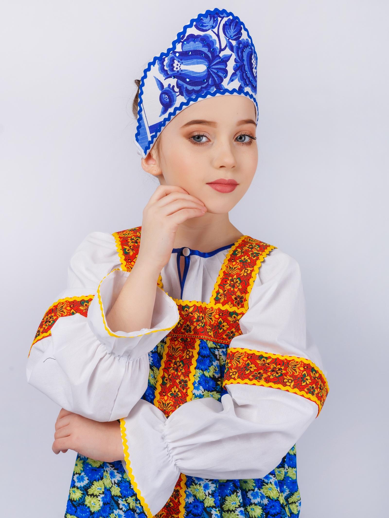 Шляпа карнавальная Gala-Вальс Кокошник Гжель, белый, синий
