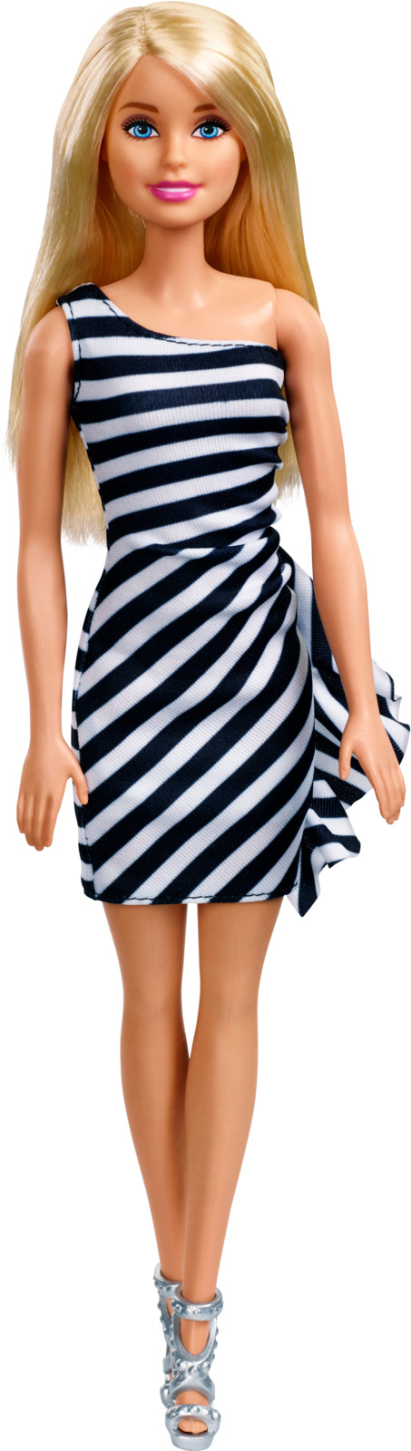 Barbie Кукла Блондинка Сияние моды цвет платья в полоску (черная, белая) цена 2017
