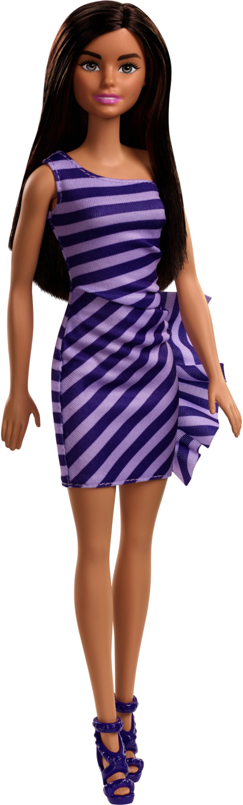 Barbie Кукла Брюнетка Сияние моды цвет платья в полоску (синяя, фиолетовая) цена 2017