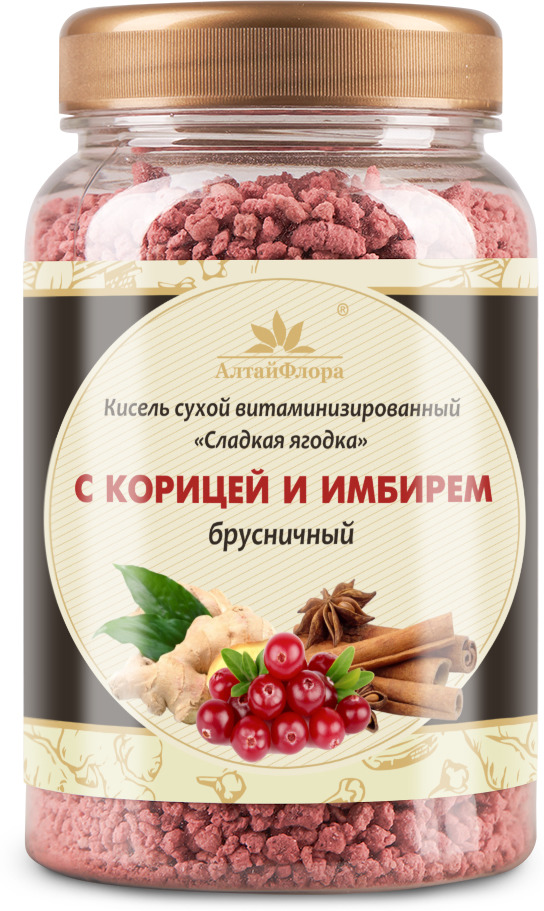 Кисель АлтайФлора Брусничный с корицей и имбирем, 250 г balis vegan лимонад с базиликом и имбирем 250 мл