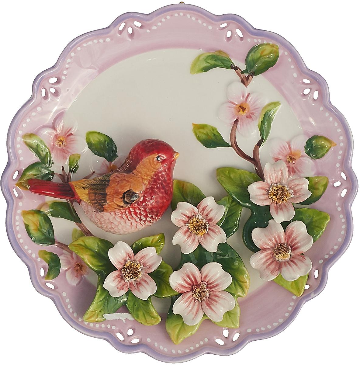 """Декоративная тарелка Lefard Птица, 59-172, розовый, 20 х 20 х 5 см тарелка суповая lefard екатерина 19 х 19 х 5 см k301 7 5"""" 2"""