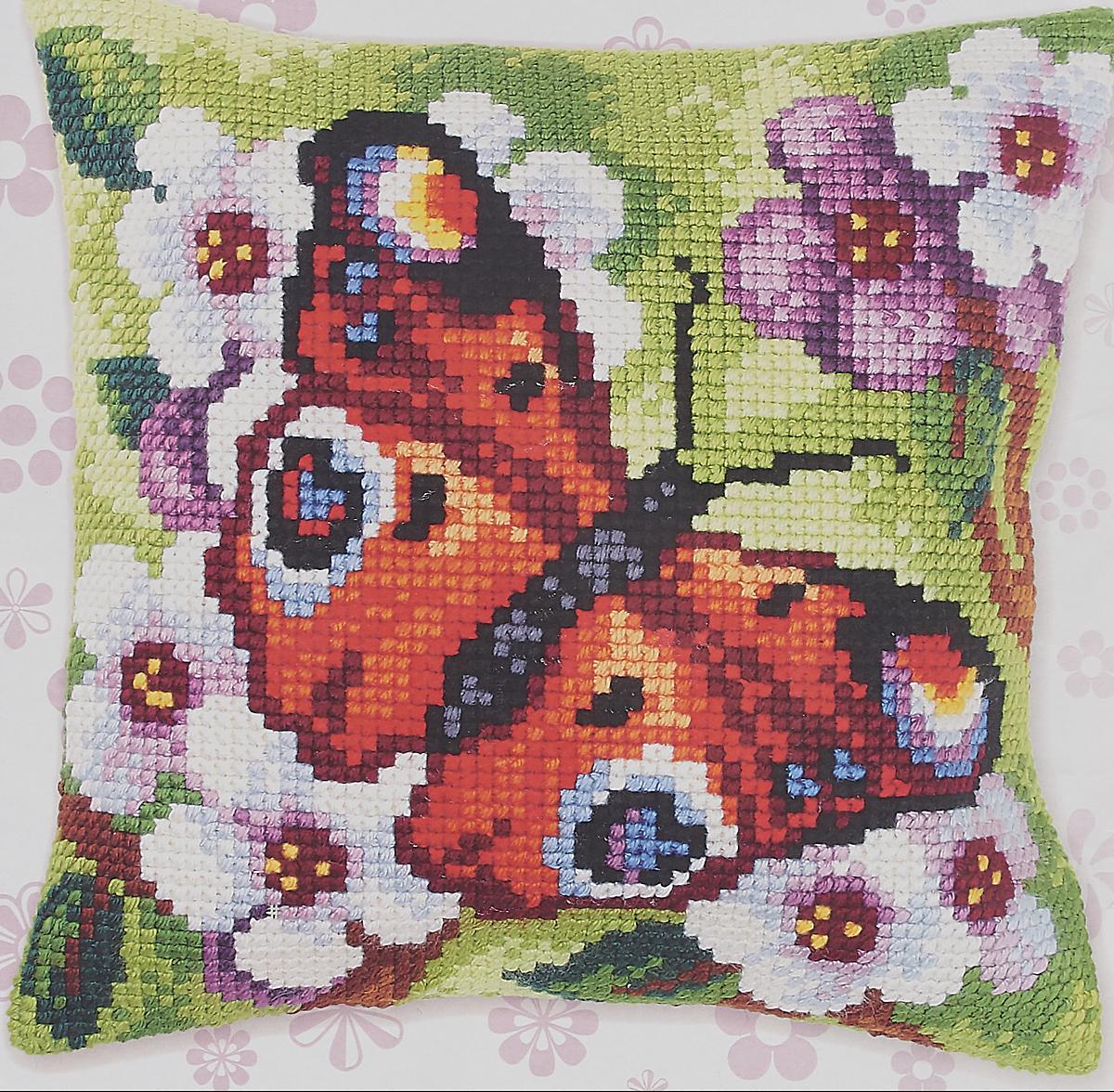 цены Набор для вышивания подушки полным крестом Orchidea, 9379, разноцветный, 40 х 40 см