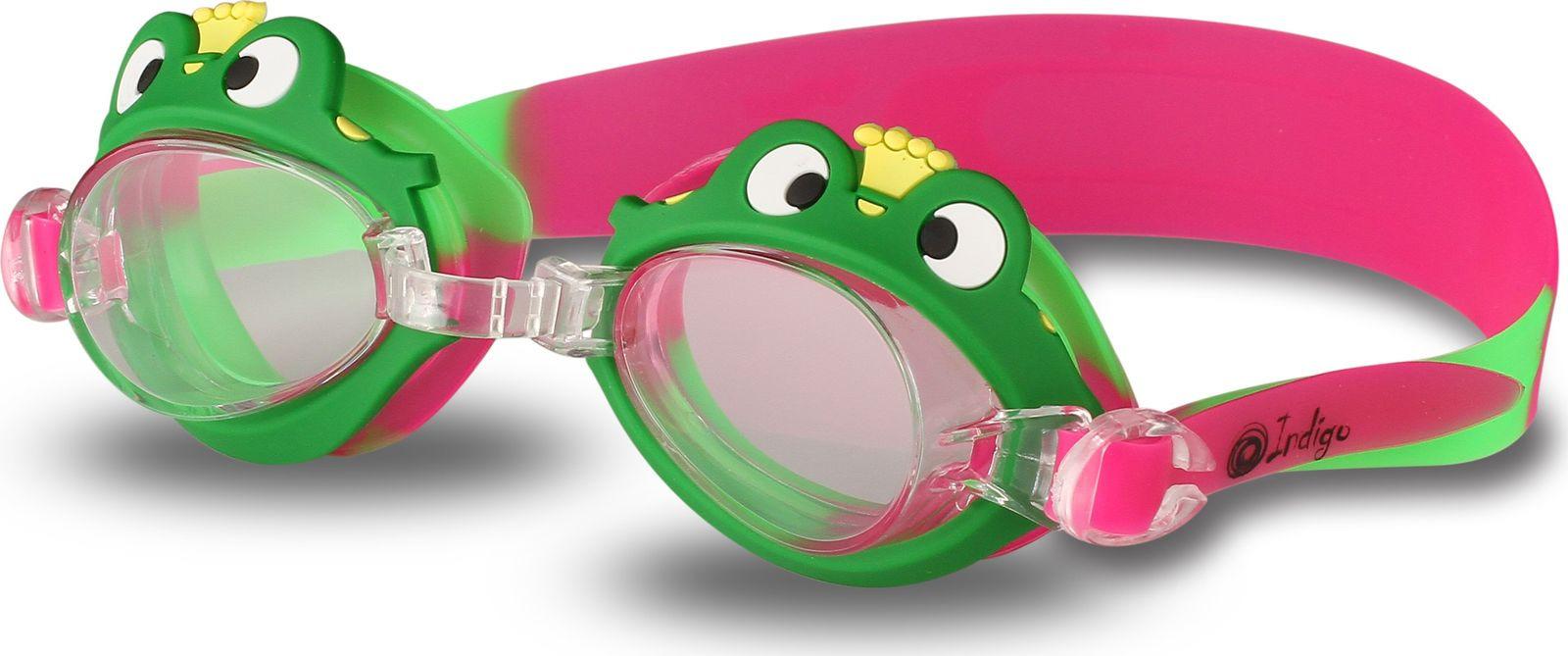 Очки для плавания детские Indigo Лягушка, 1721 G, зеленый, красный