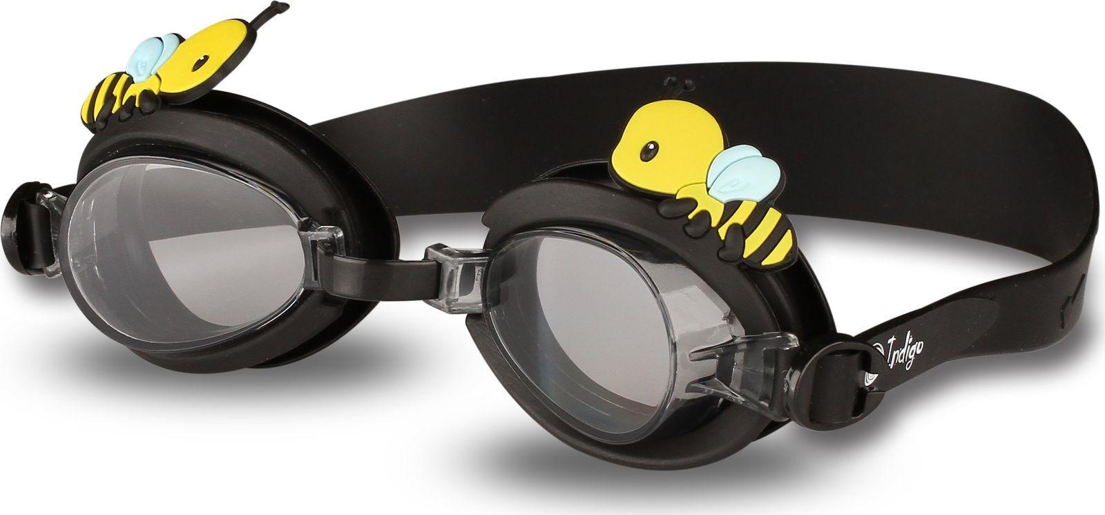 Очки для плавания детские Indigo Пчелка, 1781 G, черный