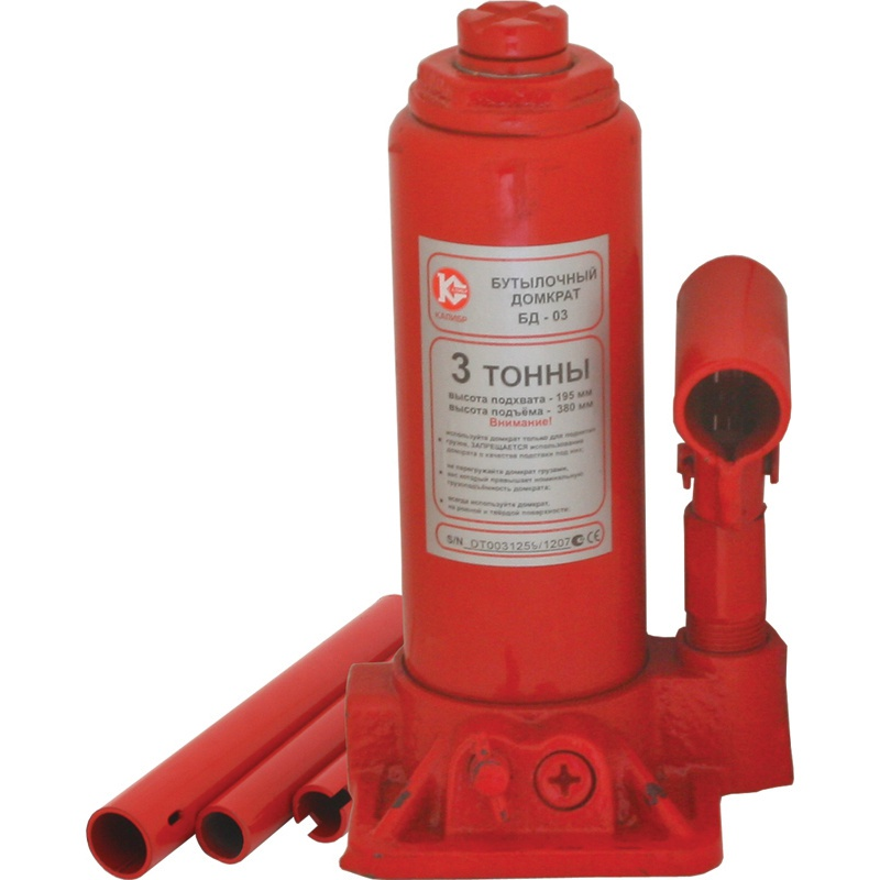 Бутылочный домкрат Калибр БД-03, красный