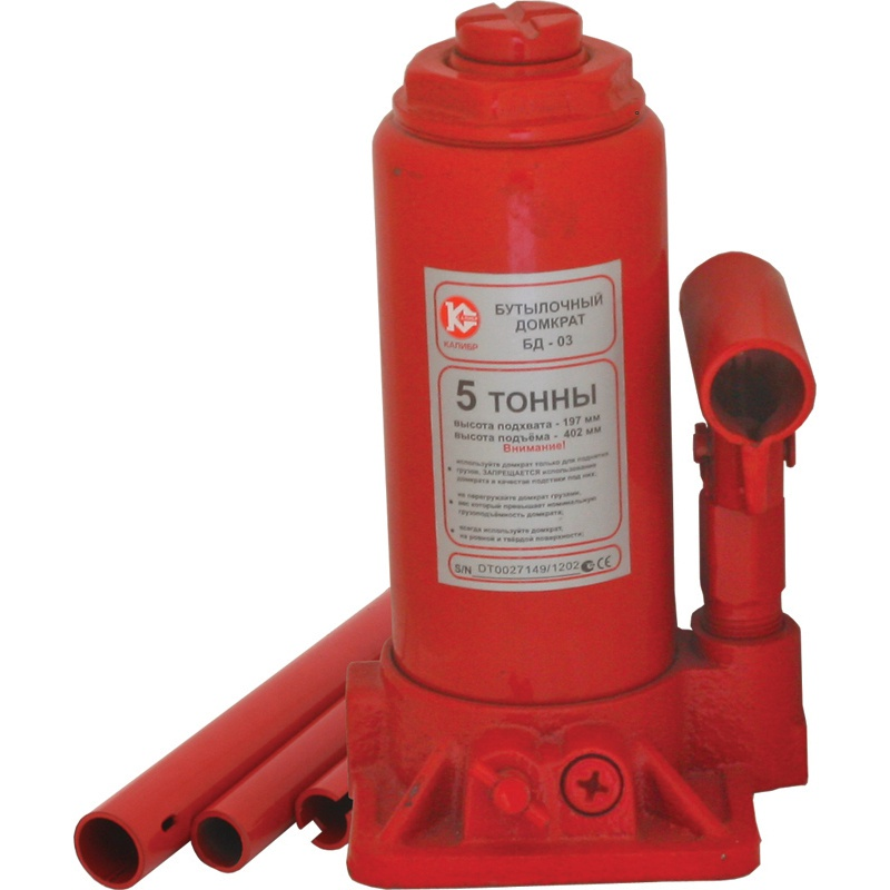 Бутылочный домкрат Калибр БД-05, красный домкрат сельсона trommelberg c107707