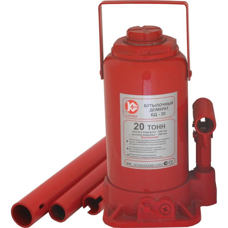 Бутылочный домкрат Калибр БД-20, красный