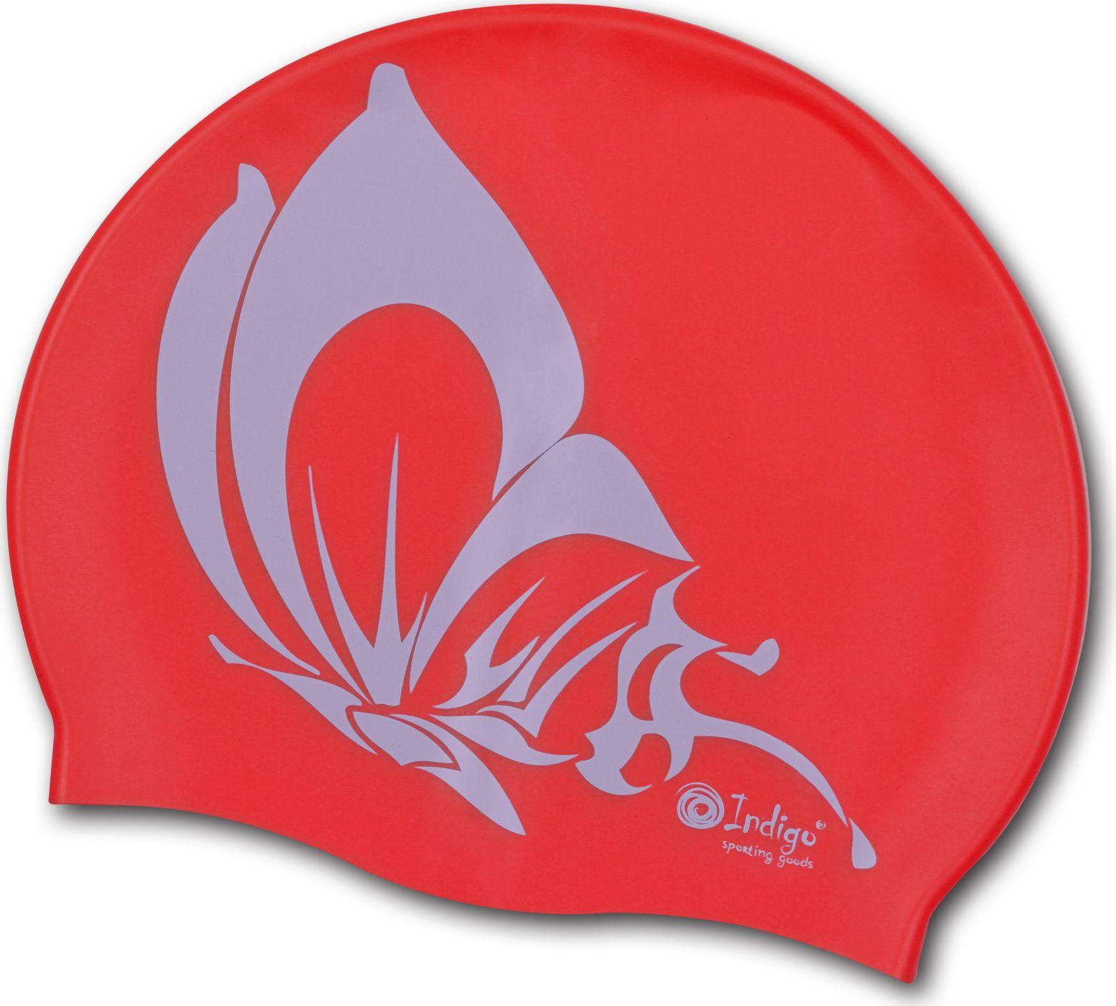 Шапочка для плавания Indigo Бабочка, SCBT107, красный