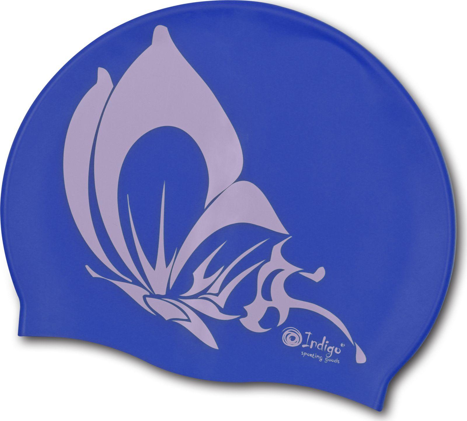 шапочки и чепчики Шапочка для плавания Indigo Бабочка, SCBT103, синий