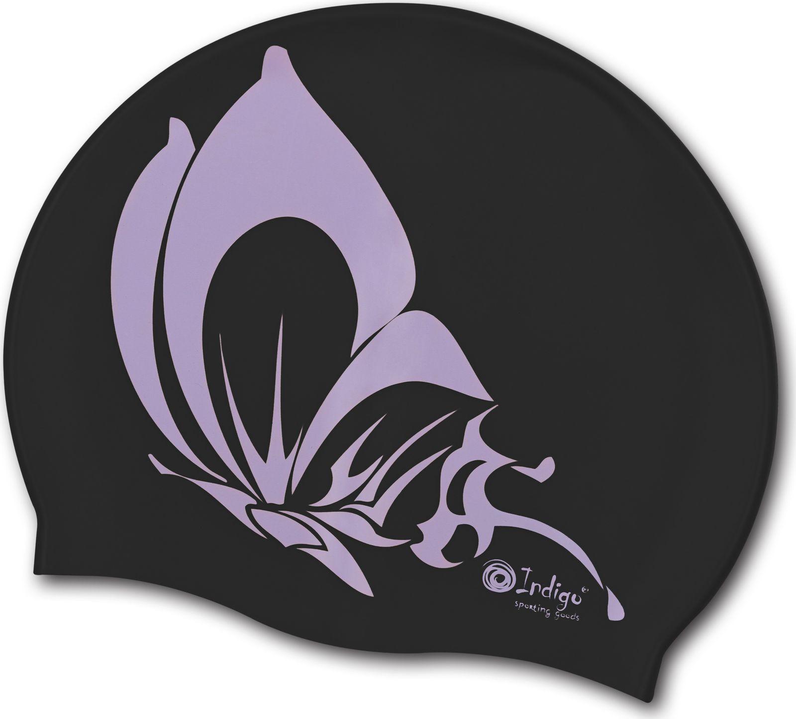 Шапочка для плавания Indigo Бабочка, SCBT102, черный