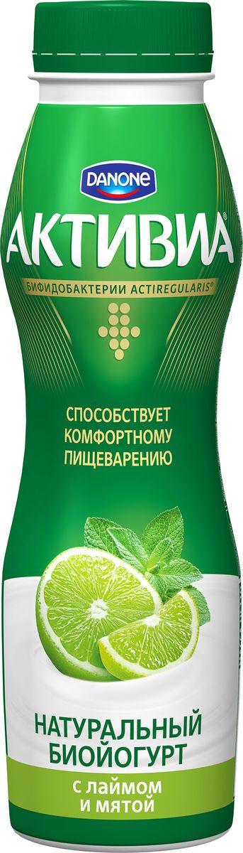 Биойогурт питьевой Активиа Лайм, мята, 2%, 290 г активиа биойогурт питьевой яблоко злаки 2 2% 290 г