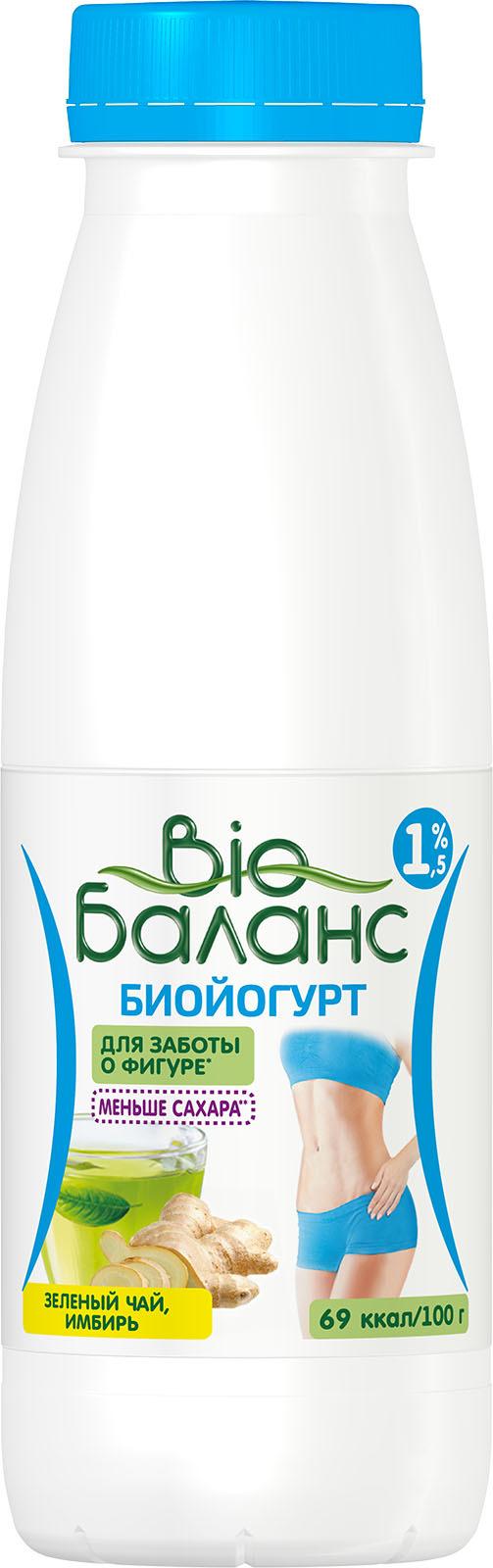 Биойогурт Био-Баланс Зеленый чай, имбирь, 1,5%, 330 г