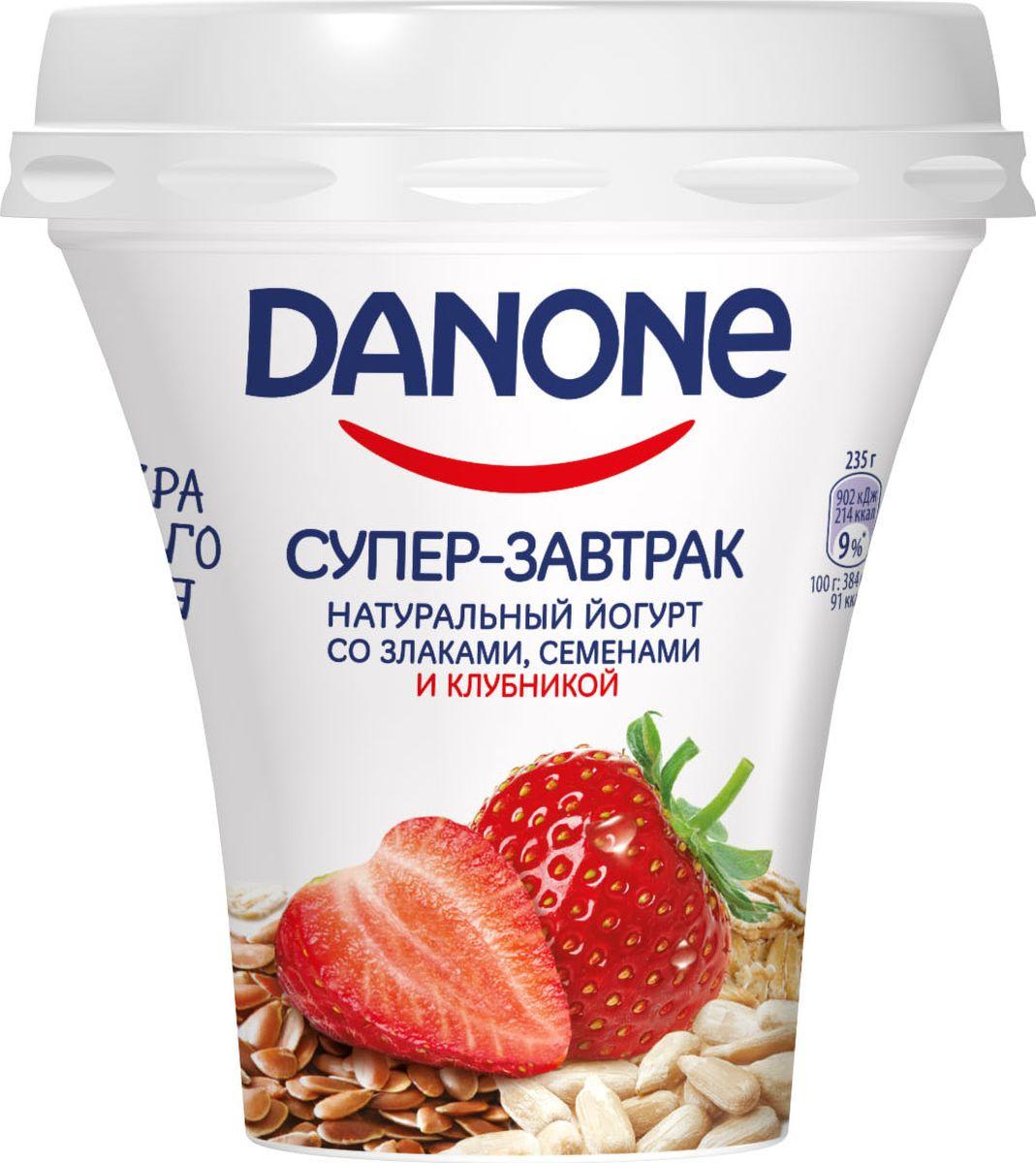 Йогурт питьевой Danone Клубника, злаки, семена льна и подсолнечника, 2,6%, 235 г