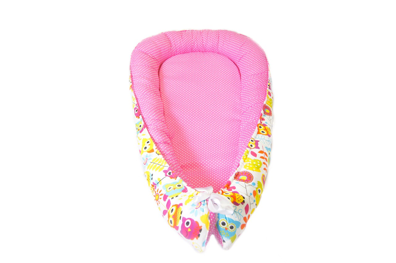 Кокон гнёздышко для новорожденных совы/розовый