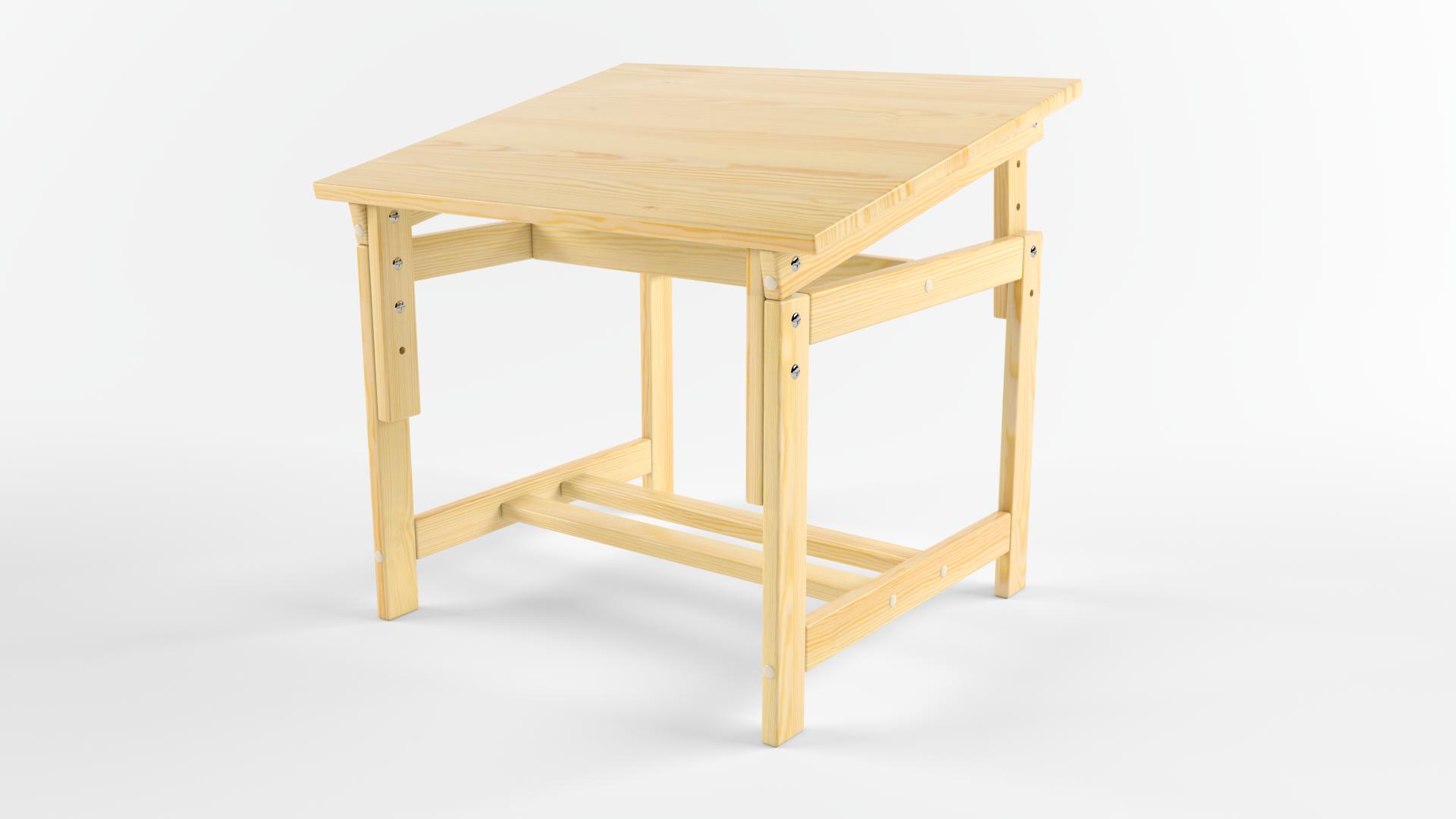 Детский стол Русские Игрушки Растущая «стол-парта» деревянная, сосна (не окрашен), бежевый, светло-бежевый, светло-коричневый
