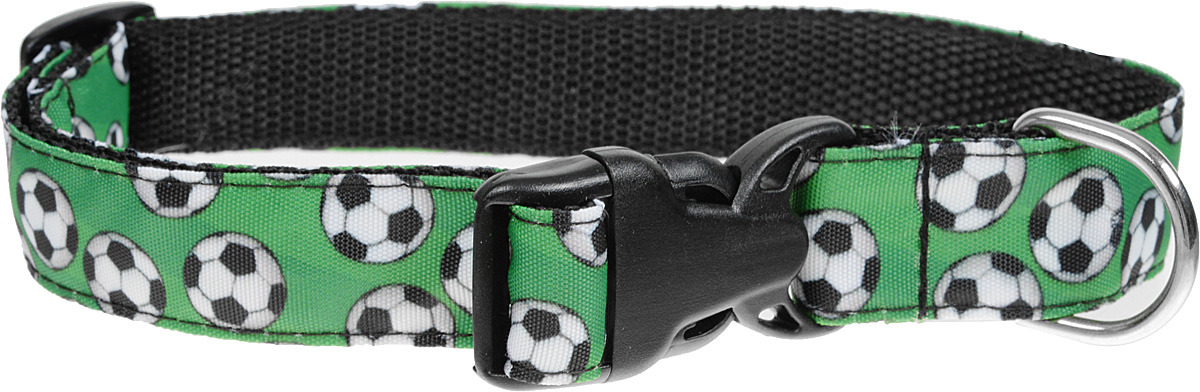 Ошейник PerseiLine Футбол, многоразмерный, M, 26-45 см, зеленый