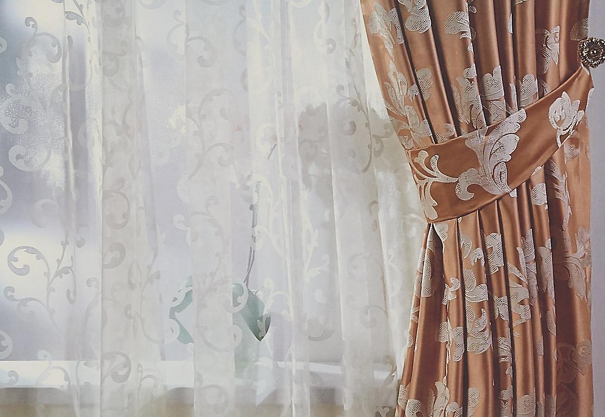 Тюль Sanpa Home Collection Дионисия, на ленте, цвет: бежевый, высота 280 см штора sanpa home collection розан на ленте цвет зеленый высота 280 см